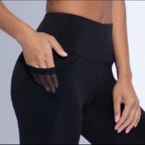 YOGALICIOUS Heather Navy Blue/Black Mesh Leggings